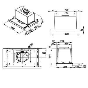 bản vẽ kỹ thuật máy hút mùi Hafele HH-TG90E 539.81.075