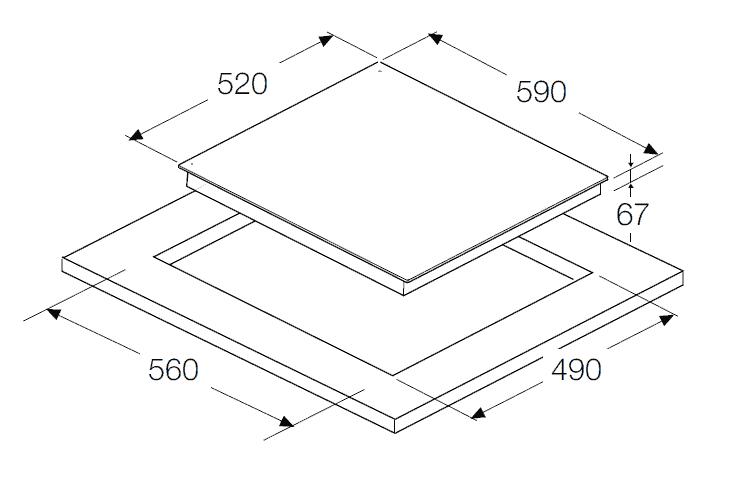 bản vẽ kỹ thuật bếp điện hafele 536.01.631