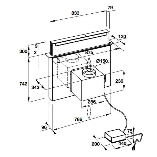 bản vẽ kỹ thuật máy hút mùi âm bàn Hafele HH-TVG90A 539.81.065