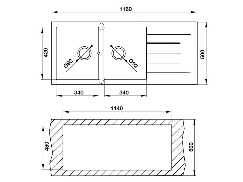 bản vẽ kỹ thuật chậu đá hafele 565.83.341
