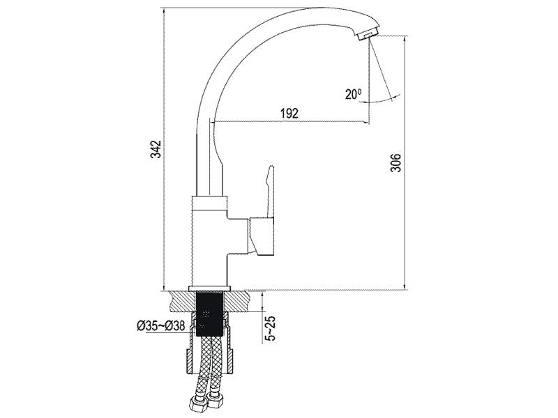 bản vẽ kỹ thuật vòi rửa chén hafele 566.32.231