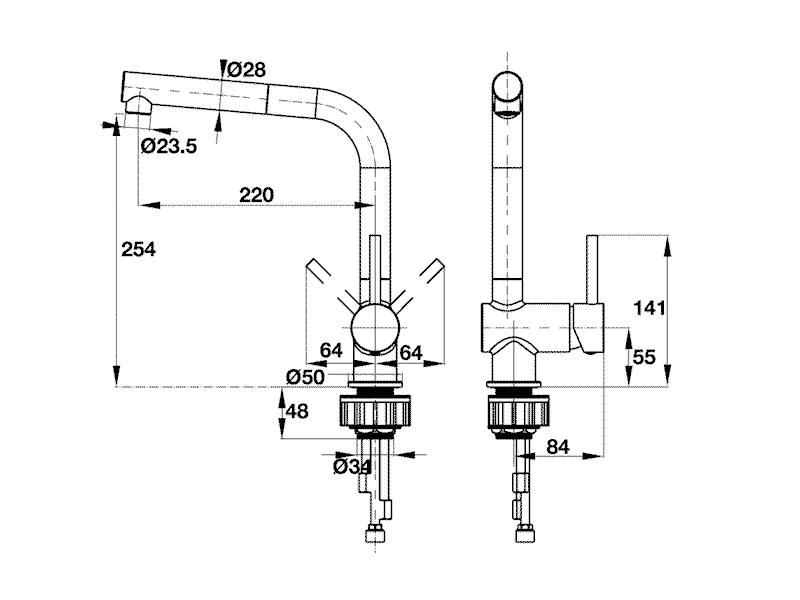 bản vẽ kỹ thuật vòi rửa chén Häfele HF-C240V 566.32.240