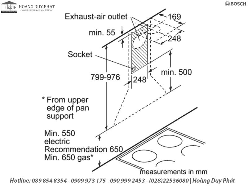 máy hút mùi bosch DWB06W850B
