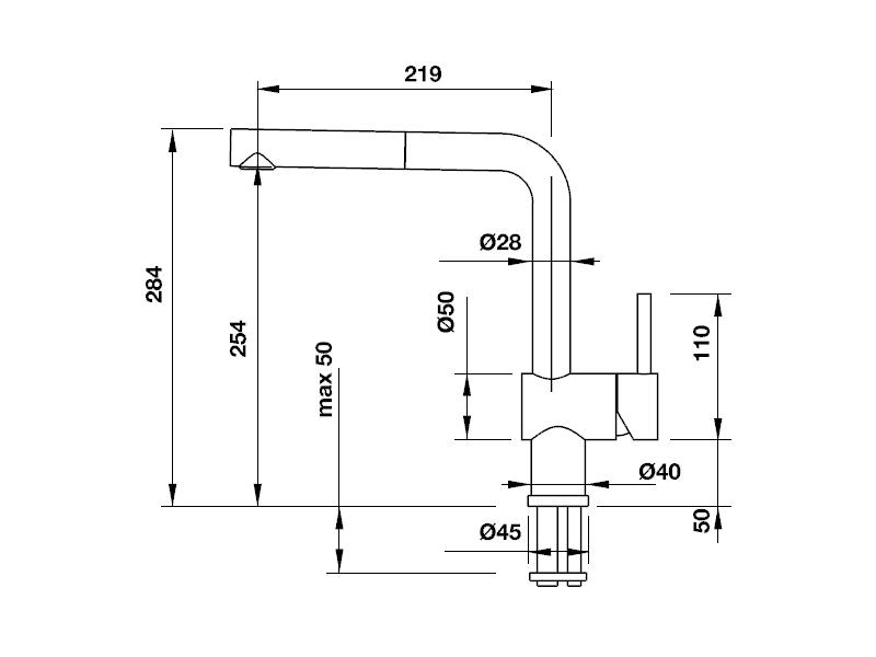 bản vẽ kỹ thuật vòi rửa chén hafele 565.68.250
