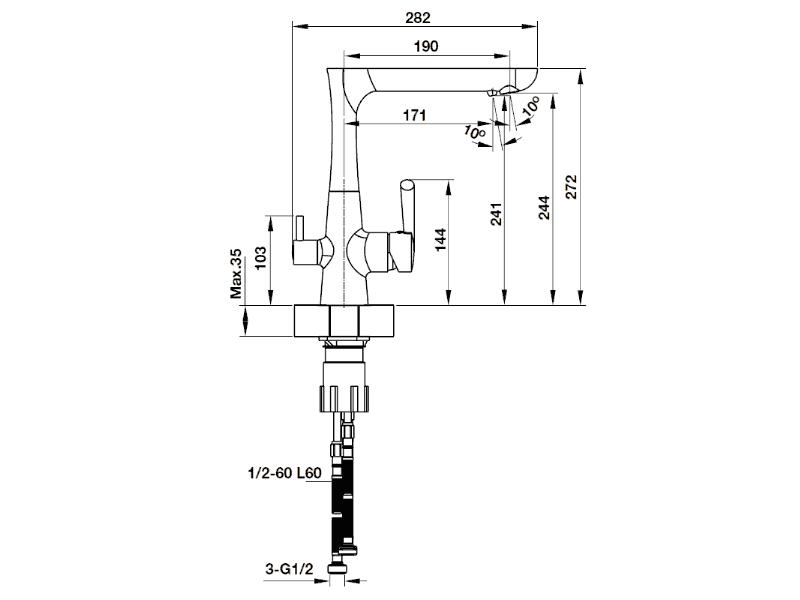 bản vẽ kỹ thuật vòi rửa chén hafele 570.51.070