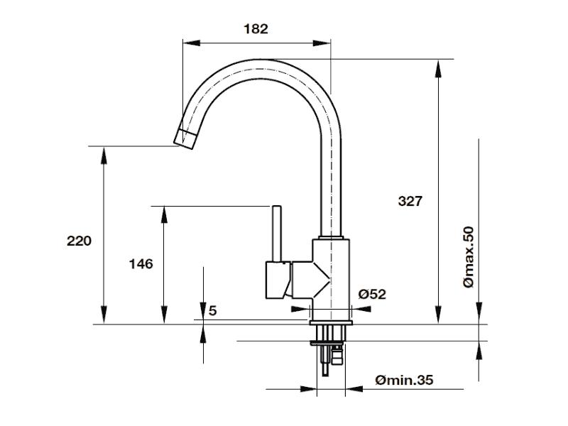 bản vẽ kỹ thuật vòi rửa chén hafele 569.04.240
