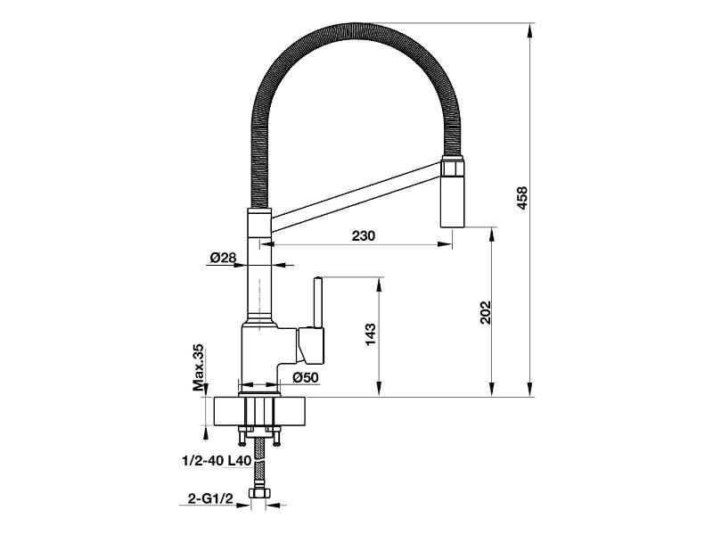 bản vẽ kỹ thuật vòi rửa chén hafele 570.51.010