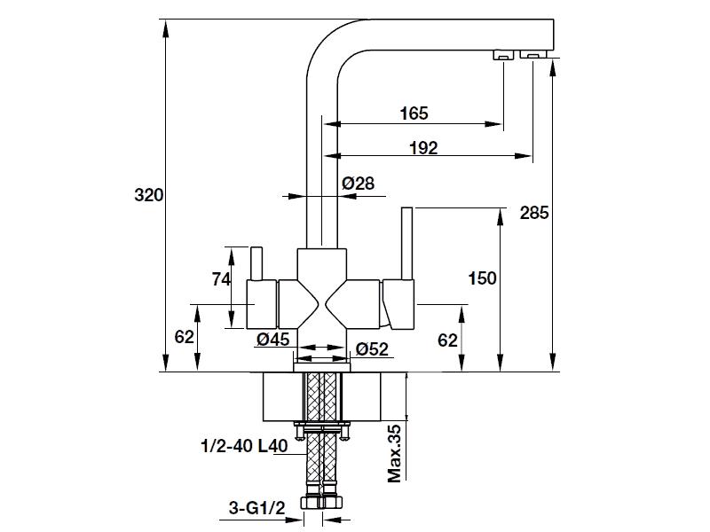 bản vẽ kỹ thuật vòi rửa chén hafele 570.51.050