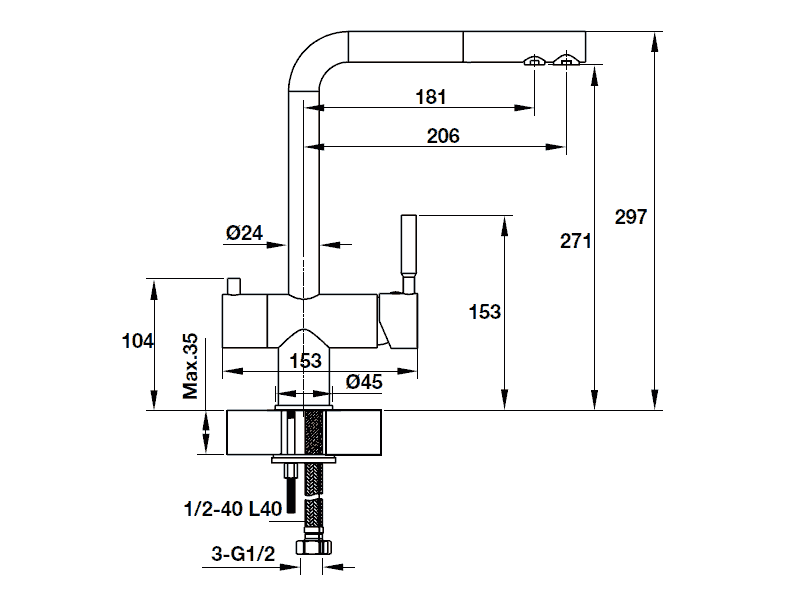 bản vẽ kỹ thuật vòi rửa chén hafele 570.51.060