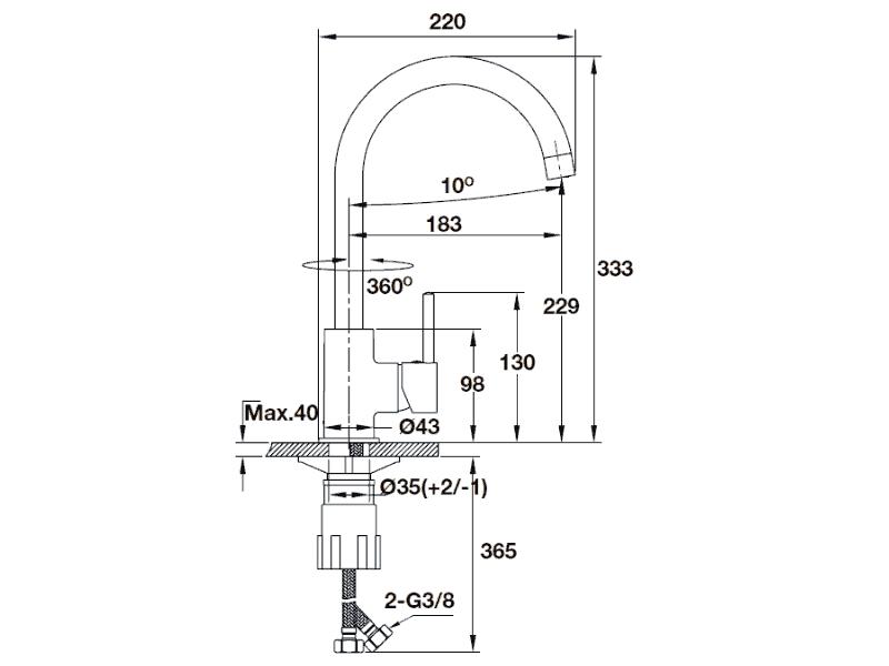 bản vẽ kỹ thuật vòi rửa chén hafele 570.51.290