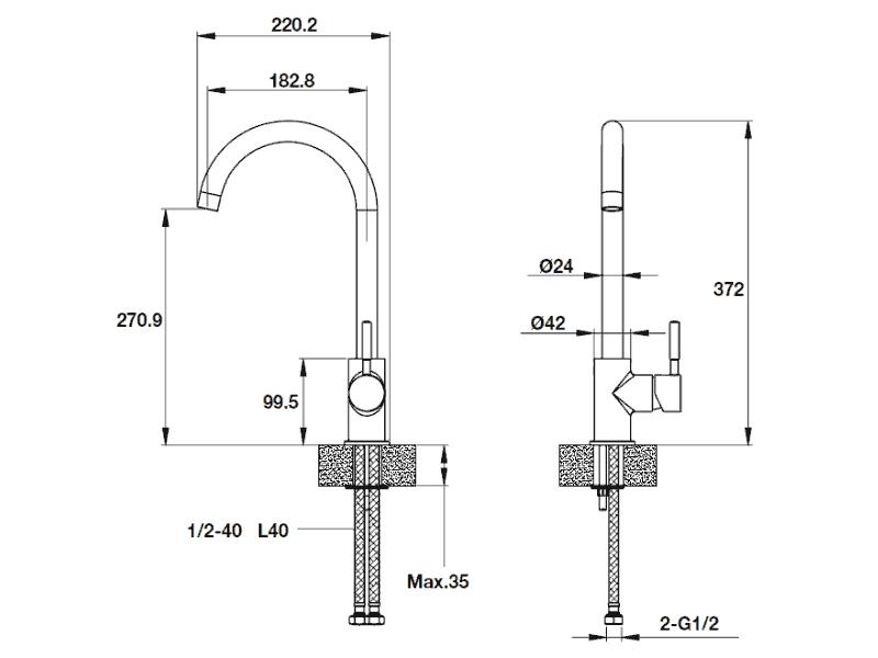 bản vẽ kỹ thuật vòi rửa chén AUGUSTUS HT-G270