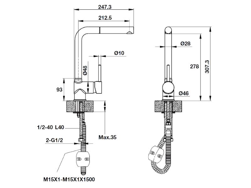 bản vẽ kỹ thuật vòi rửa chén TITUS-HT-G280