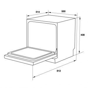 bản vẽ kỹ thuật Máy rửa chén để bàn Häfele HDW-T50B 539.20.600