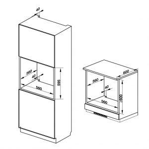 bản vẽ kỹ thuật Lò nướng âm tủ Häfele HO-K60C 535.62.591 hình 1