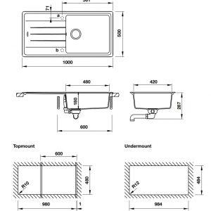 bản vẽ kỹ thuật chậu đá hafele ANTONIOUS HS-GSD10050